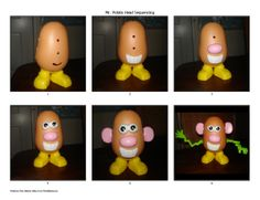 Free printable Mr. Potato Head Sequencing strips for use in speech therapy or early learning centers