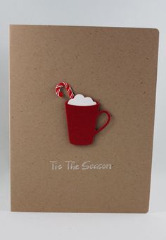 Tie the season hot cocoa and candy cane card