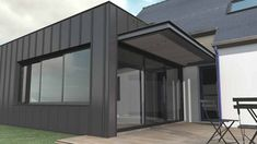 Box zinc-in the garden - oblike architecture Zinc Cladding, Interior Cladding, House Cladding, Single Storey Extension, Roof Extension, Awning Over Door, Door And Window Design, Zinc Roof, Warehouse Design