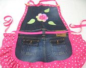 SALE   Recycled denim jean apron in a colorful print