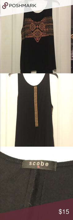 Black tank with split back and tribal detail. Black tank with split back and tribal detail. scobe Tops Tank Tops