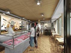 L'interno della macelleria L'Écorcheur-Bucherie du Vertbois, progettata da Michele De Lucchi: in primo piano il bancone-teca per le carni in vetro e marmo di Carrara, alle spalle opere d'arte sul tema del sacrificio animale; in fondo a destra, dopo i tavoli, la zona cottura a vista.