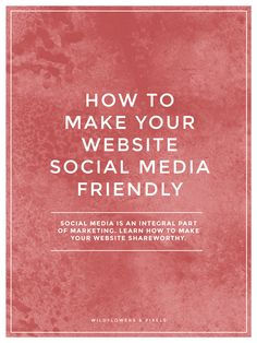 How To Make Your Website Social Media Friendly. Having a social media friendly website is basically making sure your content is easily shareable on websites like Facebook, Twitter, and Pinterest.  So, how can your small business or blog harness the power of social media and ensure your website is friendly? I'm going to help you with some simple ways to do just that.