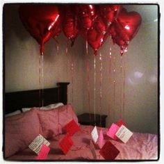 Cute idea! - I pinned this idea already, but these are the actual balloons and notes I gave my husband for Valentine's Day 2012. There's a note for each year we've been valentines. It t   meant a lot to him - he cried. Yep. Callin' him out on Pinterest, he cried. So easy, inexpensive AND meaningful. by valeria