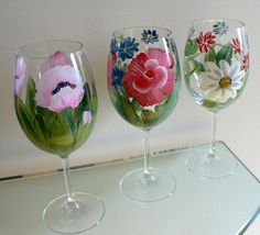 Hand Painted Wine Glasses Spring Flowers