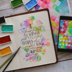 Neon watercolor background shapes - by Ngah Muli Ong #art_journal