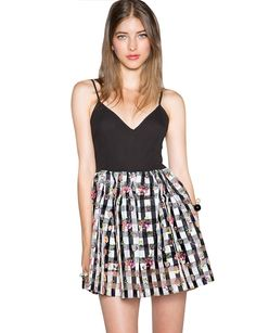 Little Black Organza Floral Gingham Dress  $52.00