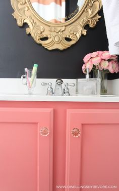 Dwellings By DeVore: bathroom vanity painted BEHR 'Wild Watermelon' . it's not too peachy & not too bubblegum, it's just a good shade of Coral Pink Decor, Girly Bathroom, Girls Bathroom, Bathroom Vanity, Bathroom, Black Walls, Coral Pink Bathroom, Pink Bathroom, Black Bathroom