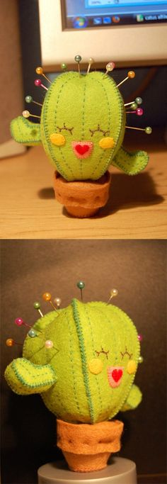 Porta alfinetes cactus de feltro