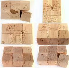 Animal Block Puzzle - 6 pictures on natural wooden cubes - bear deer owl squirrel hedgehog bird. Made by littlesaplingtoys on etsy.