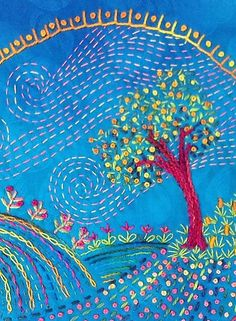 Simple colourful embroidery of tree and flowers