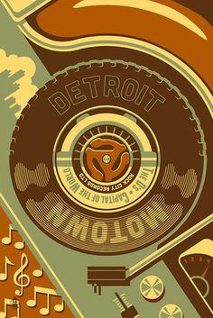 Detroit, Michigan - Motown & Motor City - Lantern Press Artwork Detroit Art, Detroit Michigan, Detroit History, Motor City Detroit, Metro Detroit, Outdoor Stickers, Ceramic Coasters, Sign Printing, Printing Press