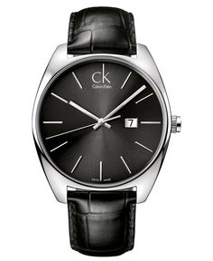 Calvin Klein Watch, Men's Swiss Exchange Black Leather Strap 44mm K2F21107