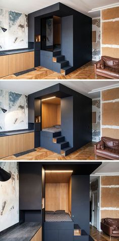 Interior design firm Batiik Studio, have transformed a run down Parisian apartment into to a functional space with a custom built lofted bed unit. Small Apartment Bedrooms, Small Apartments, Small Spaces, Studio Apartments, Bedroom Small, Design Apartment, Parisian Apartment, Apartment Ideas, Apartment Door