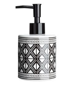 Check this out! Soap dispenser in stoneware with a printed pattern and a plastic pump. Diameter 3 in., height 6 1/4 in. - Visit hm.com to see more.