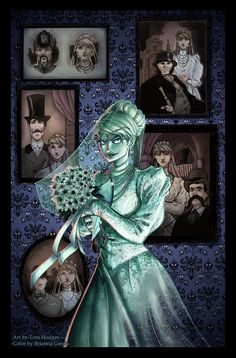 Constance Hatchaway, the Bride from the Haunted Mansion. Limited edition prints available over at Tom's Etsy Shop. Pencils and inks by Color by The Haunted Mansion: The Bride Disney Artwork, Disney Fan Art, Disney Love, Disney Stuff, Dark Disney, Disney Magic, Disney Rides, Disney Pixar, Disney Halloween