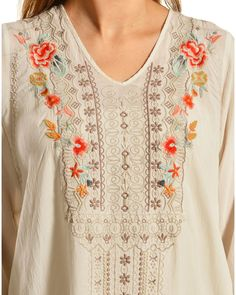 Johnny Was Women's Cynthia Blouse, Eggshell, hi-res Embroidery On Kurtis, Kurti Embroidery Design, Embroidery Neck Designs, Bead Embroidery Patterns, Embroidery On Clothes, White Embroidery, Embroidery Dress, Beaded Embroidery, Indian Embroidery