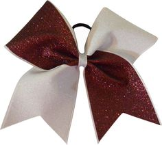 Team Colors Burgundy and White Glitter Large Cheer Bow-