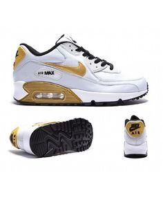 buy popular e7298 6f8fb Nike Air Max 90 Junior White Gold Black Trainers Sale UK Nike Air Max Weiß,