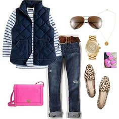 "Navy Blue, Pink, Gold, Leopard, Jeans Oufit ""navy + pink"" by turquoise22 on Polyvore"