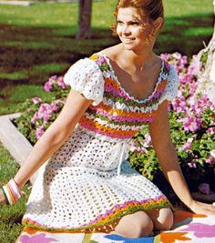1970s Crocheted Lacy Boho Mini Peasant Dress, vintage patten