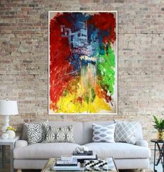 City view Large colourful acrylic on Canvas Acrylic painting by Alina Run-Latowska Canvas, City, Artwork, Painting, Color, Tela, Work Of Art, Colour, Painting Art
