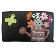 Cat In The Watering Can Leather Purse