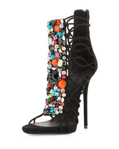 "Giuseppe Zanotti Jeweled Suede T-Strap Sandal/Bootie, Black/Multi ""Spring Strappy Shoes, T Strap Sandals, Shoes Heels, Suede Sandals, Women's Sandals, Pretty Shoes, Beautiful Shoes, Crazy Shoes, Me Too Shoes"