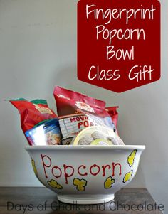 "DIY ~ Fingerprint Popcorn Bowl Class Gift {Days of Chalk and Chocolate} ..""See all those cute little kernels? Fingerprints! You can do this! I think this would be an awesome teacher gift because teachers don't need any more mugs or candles. Or wreaths made from crayons. Or crayons melted with a hair dryer as art. Or an initial created from crayons. Frankly, teachers just may be over crayons. We like popcorn! """