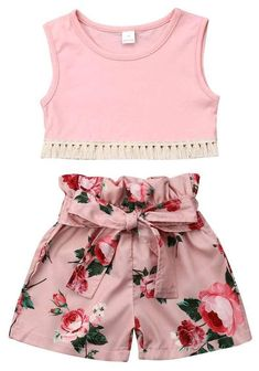 2 Pieces Solid Tanks and Floral Shorts Set For Kid Toddler Girl Clothes, Ropa de niña, Summer Shorts Outfits, Girls Summer Outfits, Toddler Girl Outfits, Baby Girl Dresses, Baby Outfits, Toddler Fashion, Kids Outfits, Kids Fashion, Baby Girls