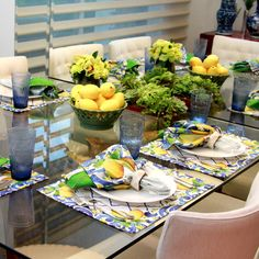 Jogo americano limão siciliano #tablesetting #tablescapes #décor #colors #kitchen #mediterranean #blue #white #yellow #green #napkin #lemon #lime