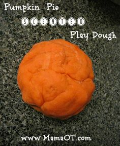 Pumpkin Pie Scented Play Dough  a wonderful fall time activity to practice sequencing, add a sensory input with smell, and have a product that helps with fine  motor skills and hand strength!