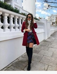 plaid skirt over the knee boots black boots red coat white sweater turtlen. skirt plaid skirt over the knee boots black boots red coat white sweater turtlen. Cute Casual Back To School Outfits for high school Girls Paris Outfits, Winter Fashion Outfits, Mode Outfits, Holiday Outfits, Fall Winter Outfits, Autumn Fashion, Paris Winter Fashion, Night Outfits, Cute Christmas Outfits