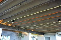 Brightly painted beams at the midcentury modern Liljestrand House.