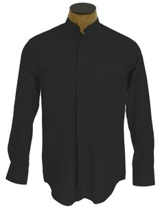 Men's Collarless Banded Collar Dress Shirt - Black - outlet girls for mom Shirt Dress, Collar Dress, Mandarin Collar, Menswear, High Neck Dress, How To Wear, Cotton, French Cuff, Outfits