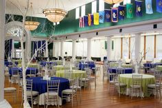 Beaufort Weddings - Green and royal blue table setting with white tree centerpieces for a special event at the Lyceum aboard MCRD Parris Island in Beaufort, SC