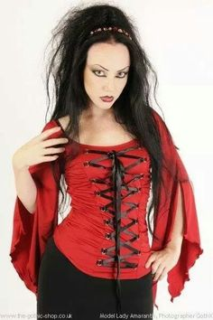 Medieval Red Stretch Ribbon Laced Gothic Blouse, uk8-30 http://www.the-gothic-shop.co.uk/medieval-stretch-ribbon-laced-gothic-blouse-p-2034.html Lady Amaranth | GothX
