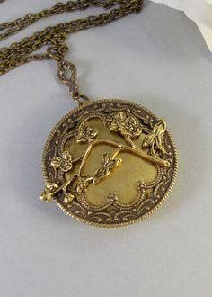Cherry Blossom Locket Brass LocketAntique by ValleyGirlDesigns, $29.00