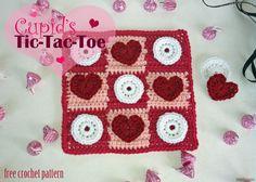 Free Crochet Pattern - Cupid's Tic Tac Toe