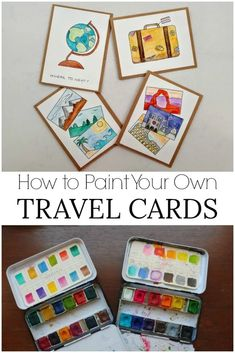 How to Paint Your Own Travel Cards - Postcards & Passports