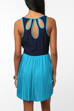 Ahdorable - Cooperative Silky Colorblock Pleated Skirt Dress - Urban Outfitters