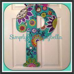 Personalized Initial Wood Door Hanger by SimplyShabbyByBella Painting Wooden Letters, Monogram Painting, Painted Letters, Wood Letters, Painted Doors, Wood Doors, Decorated Letters, Letter Door Hangers, Initial Door Hanger