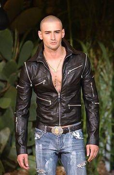 "monsieurcouture: "" Dolce and Gabbana S/S 2002 Menswear Milan Fashion Week "" Biker Leather, Leather Men, Leather Jackets, Leather Fashion, Mens Fashion, Hommes Sexy, Raining Men, Sexy Jeans, Hairy Men"