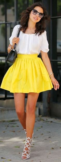 White blouse   Yellow skirt