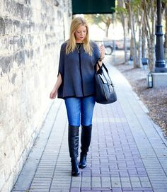 Fall fashion: Grey cape with black knee-high boots from Because Shanna Said So