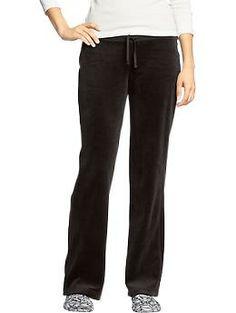 Womens Velour Lounge Pants, color: Black Jack