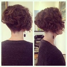 Short-Curly-Bob-Undercut Amazing Graduated Bob Haircuts for Modern Ladies Messy Bob Hairstyles, Haircuts For Long Hair, Hairstyles Haircuts, Haircut Long, Trendy Haircuts, Modern Hairstyles, Curly Hair Cuts, Short Hair Cuts, Curly Hair Styles