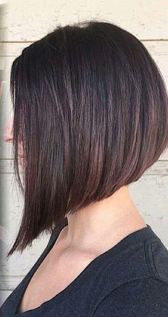 Brunette angled haircut