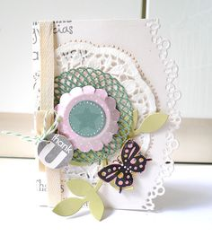 A lovely handmade Thank You card with butterfly, flower, ribbons, and many more!