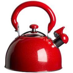 Red KittAmor 3 Quart Julia Whistling Stainless Tea Kettle